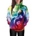 Chic 3D Astronaut Print Color Block Drawstring Hood Long Sleeve Unisex Hoodie