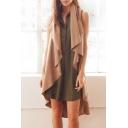 New Fashion Waterfall Front Dip Hem Plain Sleeveless Trench Coat