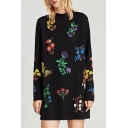 Round Neck Long Sleeve Fashion Floral Pattern Mini Loose Shift Dress