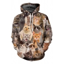 New Stylish Animal Print Drawstring Hood Pocket Long Sleeve Hoodie