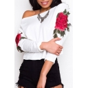 New Stylish Embroidery Floral Pattern Long Sleeve Pullover Sweatshirt