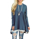 New Fashion Simple Plain Round Neck Lace Hem Longline Long Sleeve Loose Top