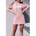 Letter Print Cold Shoulder Long Sleeve Hooded Mini T-Shirt Dress