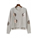 Chic Beaded Embellished Circle Pattern High Low Hem Loose Pullover Sweater