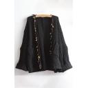 New Fashion Tassel Embellished Open Front Long Sleeve Cardigan