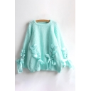 New Fashion Crisscross Ribbon Embellished Round Long Sleeve Pullover Sweater
