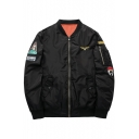 New Fashion Badge Embroidered Stand-Up Collar Zippered Long Sleeve Bomber Jacket