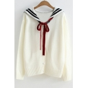 Chic Striped Navy Collar Long Sleeve Buttons Down Cardigan