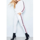 Simple Leisure Striped Side Long Sleeve Pullover Sweatshirt with Drawstring Waist Pants