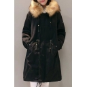 Simple Plain Faux Fur Hem Hooded Zip Placket Long Sleeve Longline Coat