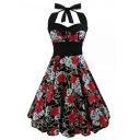 New Stylish Floral Skull Print Halter Neck Gathered Waist Midi Fit & Flare Dress