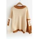 New Stylish Color Block Cartoon Rabbit  Print Round Neck Pullover Sweater