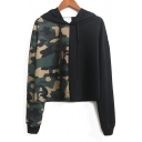 New Fashion Color Block Camouflage Pattern Long Sleeve Hoodie