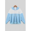 New Fashion Color Block Cartoon Planet Pattern Long Sleeve Hoodie
