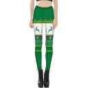 Fashionable 3D Christmas Elk Print Elastic Waist Leggings