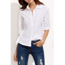 Simple Collared Long Sleeve Open Waist Bow Belted Shirt
