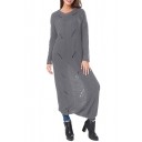 New Fashion Simple Plain Hollow Out Round Neck Long Sleeve Sweater Maxi Dress