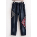 New Fashion Tribal Embroidered Drawstring Waist Warm Denim Jeans