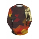 Color Block Geometric Print Round Neck Long Sleeve Pullover Sweatshirt