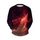 Fahionable Simple Leisure Galaxy Print Round Neck Long Sleeve Pullover Sweatshirt