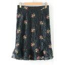 New Stylish Embroidery Floral Pattern Zip Fly Ruffle Hem Lace Skirt