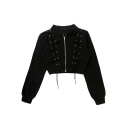 New Fashion Simple Crisscross Drawstrings Long Sleeve Cropped Coat