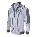 Sportive Long Sleeve Color Block Flap-Pocket Zippered Hoodie