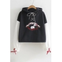 Rabbit Floral Print Contrast Sleeves Hoodie with Metal Eyelets & Attached Lacing