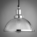 Industrial Bowl Shade Pendant Light Ribbed Glass 1 Head Suspension in Chrome for Corridor