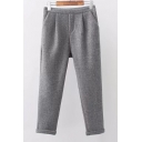 New Leisure Simple Plain Woolen Pants