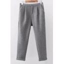 New Leisure Simple Plain Woolen Pants