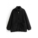 New Stylish Stand-Up Collar Long Sleeve Zipper Simple Plain Fur Coat