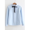 Chic Simple Plain Lapel Bow Front Long Sleeve Buttons Down Shirt