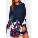 Round Neck Long Sleeve Floral Printed Mini Swing Dress