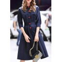 Casual Crew Neck Half Sleeves Button-Down Pleated Midi A-line Dress