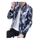 Simpel Lightning Print Stand-Up Collar Zip Placket Long Sleeve Jacket