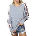 Leisure Round Neck Floral Printed Long Sleeves Pullover Sweatshirt