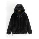 New Stylish Faux Fur Plain Zipper Long Sleeve Hooded Coat