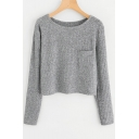 Simple Plain Round Neck Long Sleeve Cropped Pullover Sweater