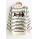 Fish Bone Embroidered Striped Long Sleeve Pullover Sweater