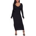 Fashion Sexy V-Neck Long Sleeve Bodycon Maxi Dress