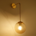 Industrial Hanging Wall Sconce with 7.09''W Globe Glass Shade, Gold