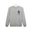 Leisure Cactus Print Long Sleeve Round Neck Pullover Sweatshirt