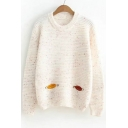Owl Patchwork Round Neck Long Sleeve Pullover Sweater