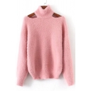 New Stylish Long Sleeve Cold Shoulder Pullover Sweater