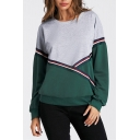 Sportive Round Neck Long Sleeves Color Block Striped Pullover Sweatshirt