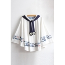 New Fashion Cartoon Fishes Pattern Round Neck Cape with Tie