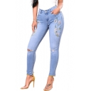 New Fashion Floral Embroidered Ripped Out High Waist Skinny Denim Jeans