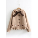 Chic Bow Tie Neck Doll Collar Single Breasted Bear Embroidered Wool Coat