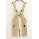 New Stylish Embroidery Cute Bear Pattern Overall Rompers